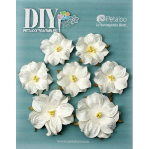 Petaloo - DIY Paintables - Mini Wild Roses x 7 - White