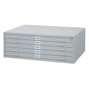 "Safco Steel Flat File: 5 Drawers, Gray, 16 1/2"" x 46 3/8"" x 35 3/8"""