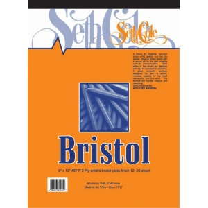 "Seth Cole 19"" x 24"" Smooth Finish Bristol Board Pad; Finish: Smooth; Format: Pad; Quantity: 12 Sheets; Size: 19"" x 24""; Weight: 100 lb; (model SC67PC), price per 12 Sheets pad"