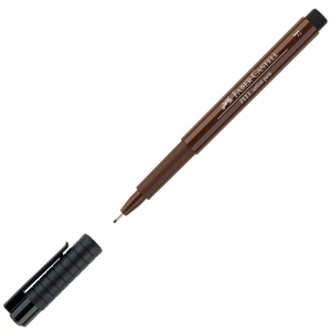 Faber-Castell® PITT® Artist Pen Sepia Fine; Color: Brown; Ink Type: India, Pigment; Tip Type: Fine Nib; (model FC167275), price per each