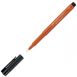 Faber-Castell® PITT® Artist Pen Sanguine Superfine; Color: Brown, Orange; Ink Type: India, Pigment; Tip Type: Super Fine Nib; (model FC167188), price per each