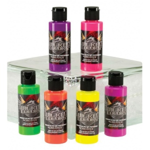 Wicked Colors™ Airbrush Paint Fluorescent 6-Color Set: Multi, Bottle, 2 oz, Airbrush, (model W103-00), price per set