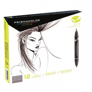 Prismacolor® Double Ended Brush Marker 12-Color Warm Grey Set; Color: Multi; Double-Ended: Yes; Ink Type: Alcohol-Based, Dye-Based; Tip Type: Brush Nib; (model SN1773298), price per set