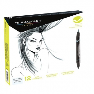Prismacolor® Double Ended Brush Markers 12-Color Cool Grey Set: Multi, Double-Ended, Alcohol-Based, Dye-Based, Brush Nib, (model SN1773299), price per set