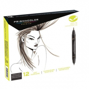 Prismacolor® Double Ended Brush Marker 12-Color French Grey Set; Color: Multi; Double-Ended: Yes; Ink Type: Alcohol-Based, Dye-Based; Tip Type: Brush Nib; (model SN1773300), price per set