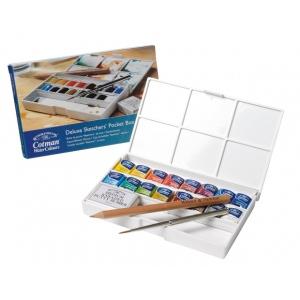 Winsor & Newton™ Cotman™ Watercolor Deluxe Sketchers Pocket 16-Half Pan Box Set: Multi, Pan, Watercolor, (model 0390060), price per set