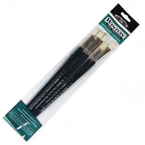 Winsor & Newton™ Winton 5-Piece Brush Set: Bristle, Natural Hair, Bright, Fan, Filbert, Flat, Round, Oil, (model 5974100), price per each