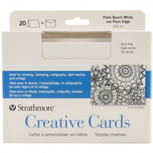 "Strathmore® 5 x 6.875 Palm Beach/Plain Edge Creative Cards 20-Pack: Blue, White/Ivory, Envelope Included, Card, 20 Cards, 5"" x 6 7/8"", 80 lb, (model ST105-12), price per 20 Cards"