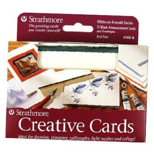 """Strathmore® 3.5 x 4.875 White/Red Deckle Creative Cards; Color: Red/Pink, White/Ivory; Envelope Included: Yes; Format: Card; Quantity: 10 Cards; Size: 3 1/2"""" x 4 7/8""""; Weight: 80 lb; (model ST105-9), price per 10 Cards"""