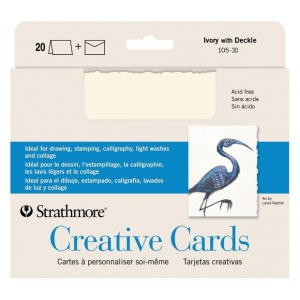 "Strathmore® 5 x 6.875 Ivory/Deckle Creative Cards 20-Pack; Color: White/Ivory; Envelope Included: Yes; Format: Card; Quantity: 20 Cards; Size: 5"" x 6 7/8""; Weight: 80 lb; (model ST105-30), price per 20 Cards"