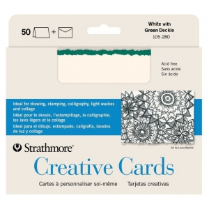 """Strathmore® 5 x 6.875 White/Emerald Deckle Creative Cards 50-Pack; Color: Green, White/Ivory; Envelope Included: Yes; Format: Card; Quantity: 50 Cards; Size: 5"""" x 6 7/8""""; Weight: 80 lb; (model ST105-280), price per 50 Cards"""