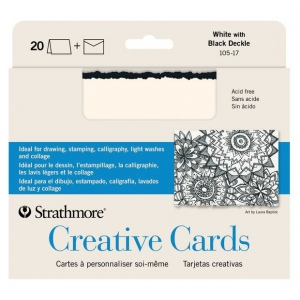 "Strathmore® 5 x 6.875 White/Black Deckle Creative Cards 20-Pack: Black/Gray, White/Ivory, Envelope Included, Card, 20 Cards, 5"" x 6 7/8"", 80 lb, (model ST105-17), price per 20 Cards"