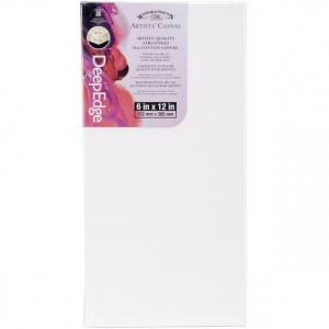 """Winsor & Newton™ Artists' Stretched Canvas Deep Edge Cotton 6"""" x 12"""": 6"""" x 12"""", 1 1/2"""", Stretched, (model 6015099), price per each"""
