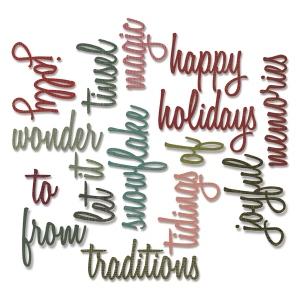 Sizzix - Thinlits Die Set 16PK - Holiday Words 2 - Script by Tim Holtz