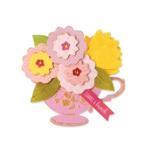 Sizzix - Bigz Die with Bonus Textured Impressions - Tea Cup Bouquet by Brenda Walton