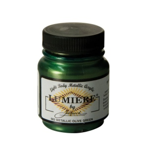 Lumiere® Pigmented Acrylic Paint Metallic Olive Green; Color: Metallic; Format: Jar; Size: 2.25 oz; Type: Acrylic; (model J562), price per each