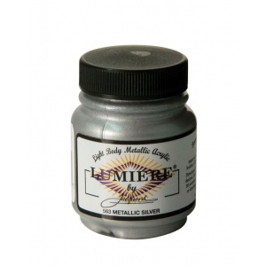 Lumiere® Pigmented Acrylic Paint Metallic Silver; Color: Metallic; Format: Jar; Size: 2.25 oz; Type: Acrylic; (model J563), price per each