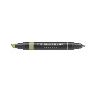 Prismacolor® Premier Art Marker Light Olive Green: Green, Double-Ended, Alcohol-Based, Dye-Based, Extra Broad Nib, Fine Nib, (model PM26), price per each