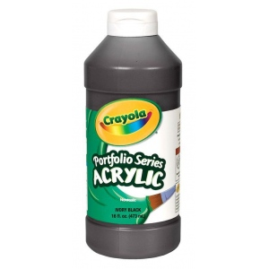 Crayola® Portfolio Series Acrylic Paint Ivory Black; Color: Black/Gray; Format: Bottle; Size: 16 oz; Type: Acrylic; (model BAS250), price per each