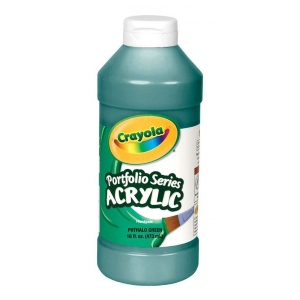 Crayola® Portfolio Series Acrylic Paint Phthalo Green; Color: Green; Format: Bottle; Size: 16 oz; Type: Acrylic; (model BAS315), price per each
