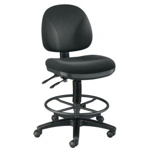 """Alvin® Prestige Artist/Drafting Chairs 21"""" Black Foot Ring; Arm Rest Included: No; Color: Black/Gray; Foot Ring Included: Yes; Height Range: 24"""" - 29"""", 30"""" & Up; Seat Material: Fabric; (model DC310-40B), price per each"""