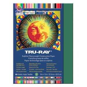 """Pacon® Tru-Ray® Construction Paper Dark Green; Color: Green; Format: Sheet; Quantity: 50 Sheets; Size: 9"""" x 12""""; (model PAC103021), price per 50 Sheets"""