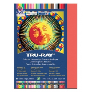"""Pacon® Tru-Ray® Construction Paper Red; Color: Red/Pink; Format: Sheet; Quantity: 50 Sheets; Size: 9"""" x 12""""; (model PAC103030), price per 50 Sheets"""