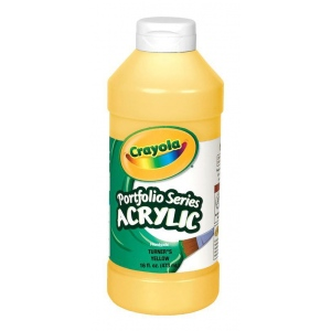 Crayola® Portfolio Series Acrylic Paint Turner's Yellow; Color: Yellow; Format: Bottle; Size: 16 oz; Type: Acrylic; (model BAS295), price per each