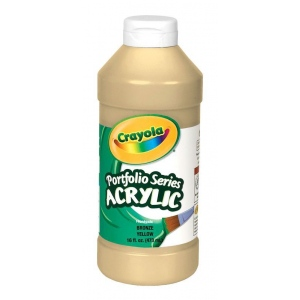 Crayola® Portfolio Series Acrylic Paint Bronze Yellow; Color: Yellow; Format: Bottle; Size: 16 oz; Type: Acrylic; (model BAS350), price per each