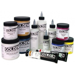 Golden® OPEN Acrylic Paint 2oz. Iridescent Bright Gold (Fine); Color: Metallic; Format: Tube; Size: 2 oz, 59 ml; Type: Acrylic; (model 0007480-2), price per tube