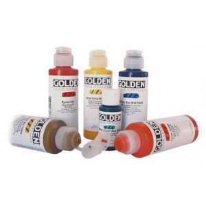 Golden® Fluid Acrylic 1 oz. Raw Sienna: Brown, Bottle, 1 oz, 30 ml, Acrylic, (model 0002340-1), price per each