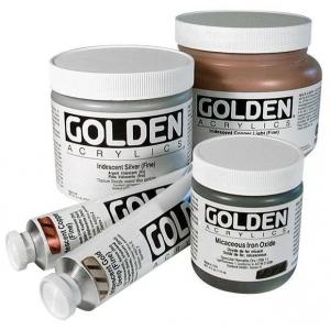 Golden® Heavy Body Iridescent Acrylic 4 oz. Gold Mica Flakes (small); Color: Metallic; Format: Jar; Size: 118 ml, 4 oz; Type: Acrylic; (model 0004076-4), price per each