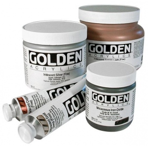 Golden® Heavy Body Iridescent Acrylic 4 oz. Gold Mica Flakes (Large); Color: Metallic; Format: Jar; Size: 118 ml, 4 oz; Type: Acrylic; (model 0004078-4), price per each