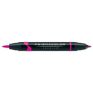 Prismacolor® Premier Art Brush Marker Rhodamine; Color: Purple; Double-Ended: Yes; Ink Type: Alcohol-Based, Dye-Based; Tip Type: Brush Nib, Fine Nib; (model PB055), price per each