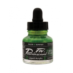 FW Pearlescent Liquid Acrylic Ink 1 oz. Macaw Green; Color: Green; Format: Bottle; Ink Type: Acrylic; Size: 1 oz; (model FW603201115), price per each