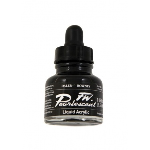 FW Pearlescent Liquid Acrylic Ink 1 oz. Black; Color: Black/Gray; Format: Bottle; Ink Type: Acrylic; Size: 1 oz; (model FW603201032), price per each