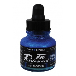 FW Pearlescent Liquid Acrylic Ink 1 oz. Galactic Blue; Color: Blue; Format: Bottle; Ink Type: Acrylic; Size: 1 oz; (model FW603201112), price per each