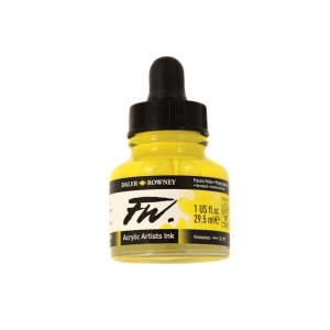 FW Liquid Artists' Acrylic Ink 1 oz. Process Yellow: Yellow, Bottle, Acrylic, 1 oz, (model FW160029675), price per each