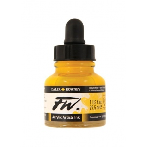 FW Liquid Artists' Acrylic Ink 1 oz. Brilliant Yellow; Color: Yellow; Format: Bottle; Ink Type: Acrylic; Size: 1 oz; (model FW160029607), price per each