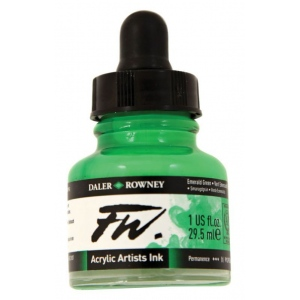 FW Liquid Artists' Acrylic Ink 1 oz. Emerald Green; Color: Green; Format: Bottle; Ink Type: Acrylic; Size: 1 oz; (model FW160029335), price per each