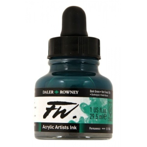FW Liquid Artists' Acrylic Ink 1 oz. Dark Green; Color: Green; Format: Bottle; Ink Type: Acrylic; Size: 1 oz; (model FW160029326), price per each