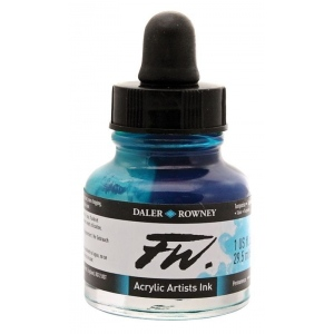 FW Liquid Artists' Acrylic Ink 1 oz. Turquoise: Blue, Bottle, Acrylic, 1 oz, (model FW160029145), price per each