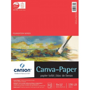 "Canson® Foundation Series Canva-Paper™ 9"" x 12"" 10-Sheet Pad; Binding: Fold Over; Color: White/Ivory; Format: Pad; Quantity: 10 Sheets; Size: 9"" x 12""; (model C100510841), price per 10 Sheets pad"