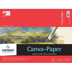 """Canson® Foundation Series Canva-Paper™ 12"""" x 16"""" 10-Sheet Pad; Binding: Fold Over; Color: White/Ivory; Format: Pad; Quantity: 10 Sheets; Size: 12"""" x 16""""; (model C100510842), price per 10 Sheets pad"""