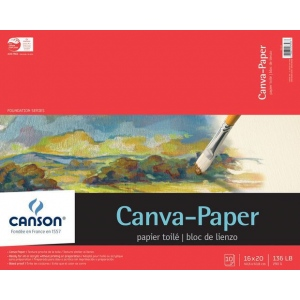"Canson® Foundation Series Canva-Paper™ 16"" x 20"" 10-Sheet Pad; Binding: Fold Over; Color: White/Ivory; Format: Pad; Quantity: 10 Sheets; Size: 16"" x 20""; (model C100510843), price per 10 Sheets pad"