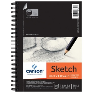 "Canson® Artist Series Universal™ 5.5"" x 8.5"" Sketch Pad; Binding: Wire Bound; Color: White/Ivory; Format: Pad; Quantity: 100 Sheets; Size: 5 1/2"" x 8 1/2""; (model C100510850), price per 100 Sheets pad"