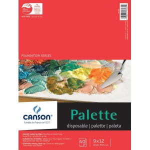 "Canson® Foundation Series 9"" x 12"" Disposable Palette Sheet Pad; Binding: Fold Over; Color: White/Ivory; Format: Pad; Quantity: 40 Sheets; Size: 9"" x 12""; (model C100510953), price per 40 Sheets pad"
