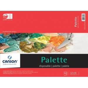 "Canson® Foundation Series 12"" x 16"" Disposable Palette Sheet Pad; Binding: Fold Over; Color: White/Ivory; Format: Pad; Quantity: 40 Sheets; Size: 12"" x 16""; (model C100510955), price per 40 Sheets pad"