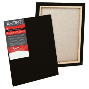 "Fredrix® Artist Series Red Label Red Label 9"" x 12"" Standard Stretched Black Canvas; Color: Black/Gray; Format: Panel; Material: Gesso; Size: 9"" x 12""; Stretcher Bar Depth: 11/16""; Stretcher Strips: 11/16"" x 1 9/16""; Type: Stretched; (model T50149), price per each"