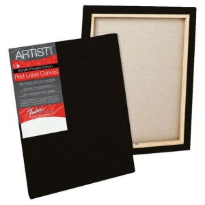 "Fredrix® Artist Series Red Label Red Label 14"" x 18"" Standard Stretched Black Canvas; Color: Black/Gray; Format: Panel; Material: Gesso; Size: 14"" x 18""; Stretcher Bar Depth: 11/16""; Stretcher Strips: 11/16"" x 1 9/16""; Type: Stretched; (model T50209), price per each"